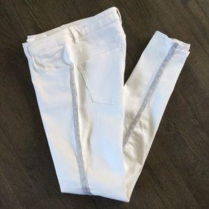Zara Basic White Stretch Silver Glitter Trim Jeans